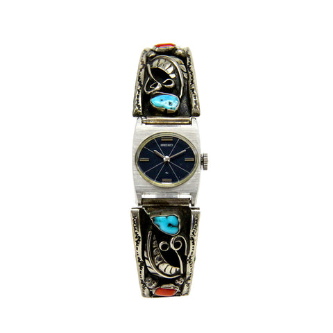 Sterling Silver Native American Turquoise and Coral Seiko Quartz Watch