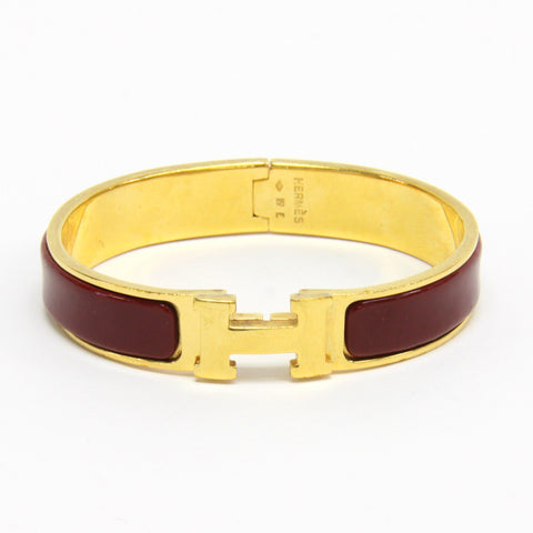 Hermes Narrow Clic Clac H Bracelet Gold Plated Red Enamel