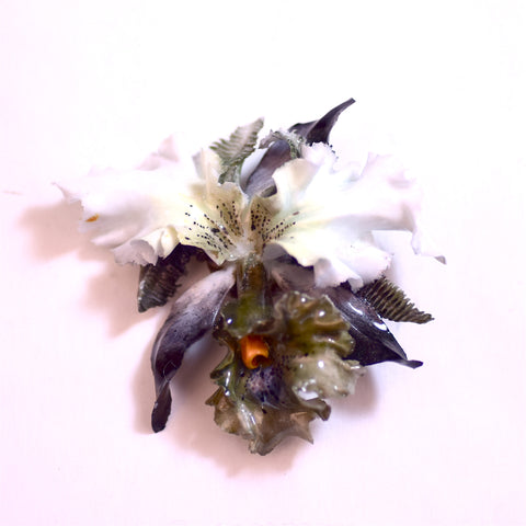 English Porcelain Ceramic Flower Brooch Pin