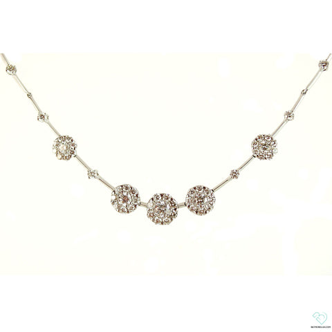 18K White Gold & Diamond Flower Cluster Pendant Necklace