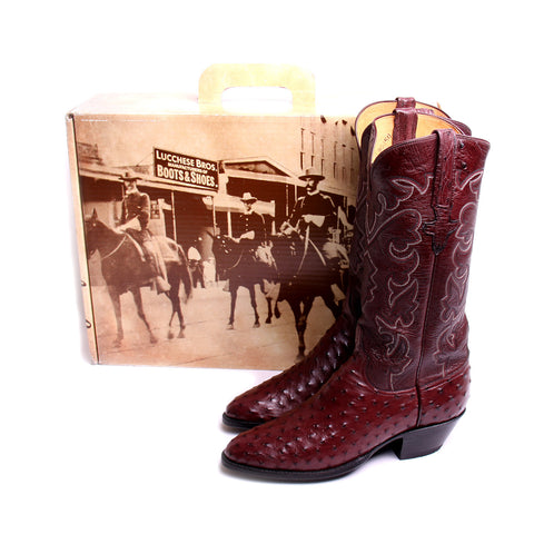 "Woman's Lucchese 13"" Quilled Ostrich Medium Toe Western Cowgirl Boots"