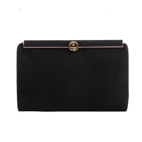 Gucci Vintage Black Suede Fold-over GG Gold-tone Clutch