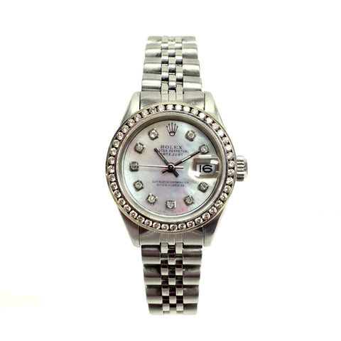 Ladies Rolex Datejust with diamond dial and bezel