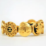 Chanel Gold-Plated Monogrammed Cuff Bangle Bracelet