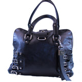 Jimmy Choo Bree Biker Leather Buckle Hobo Bag Purse