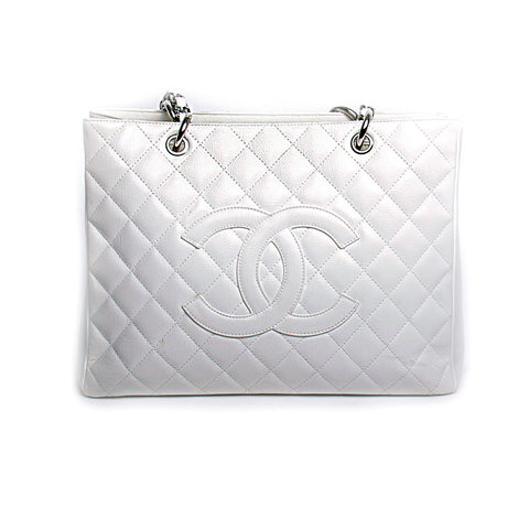 Chanel White Quilted Caviar Leather Grand Shopping Tote GST