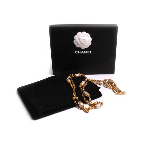 Chanel Vintage Swarovski Baroque Style Pearl Filigree Gilt Rope Necklace