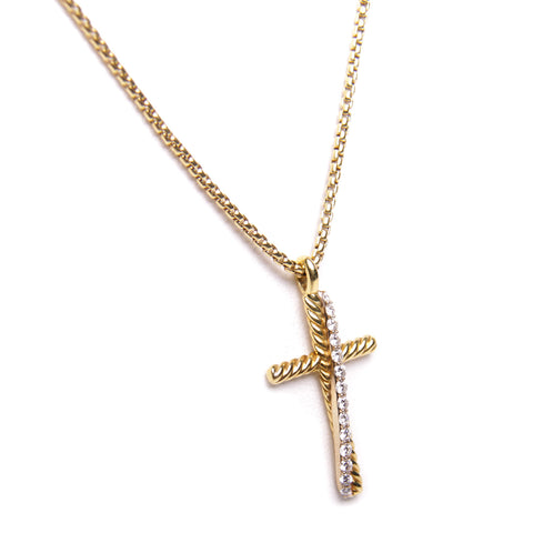 David Yurman 18k Yellow Gold Crossover Diamond Cross Necklace