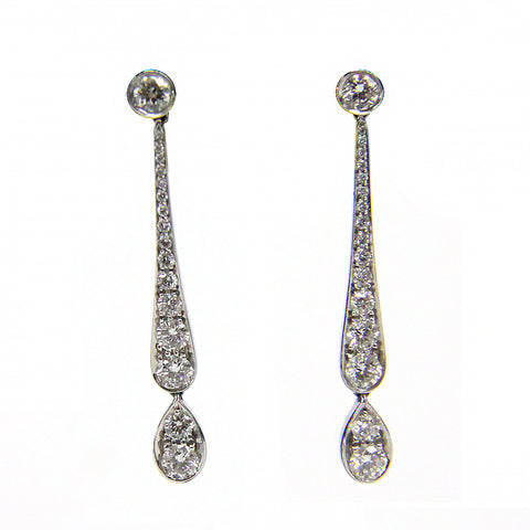 Tiffany & Co. Platinum Diamond Jazz Dangle Drop Earrings