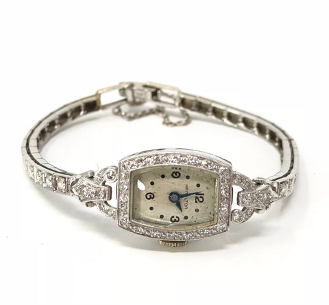 Vintage Hamilton Circa 1948 Diamond 14K Gold .900 PT Ladies Watch 18.20 Grams
