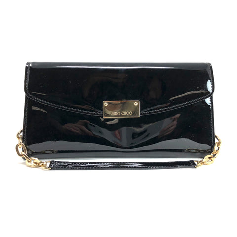 Jimmy Choo Riane Black Patent Leather Clutch Bag