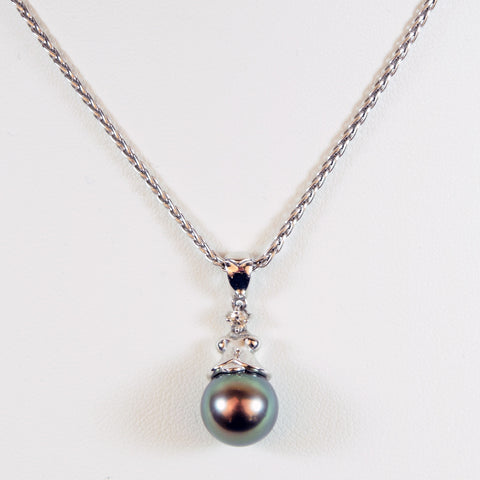 18 Karat White Gold Rope Chain and Black Tahitian Pearl Pendant Necklace