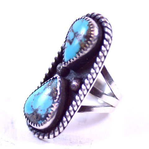 Sterling Silver and Turquoise Jewelry Ladies Southwest Native American Style Signed TB Ring