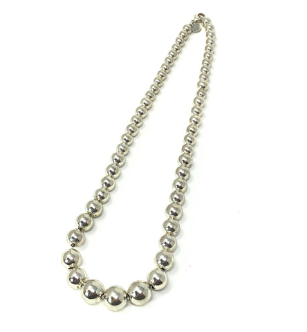 Tiffany & Co Sterling Silver Necklace Graduated Beads 16""