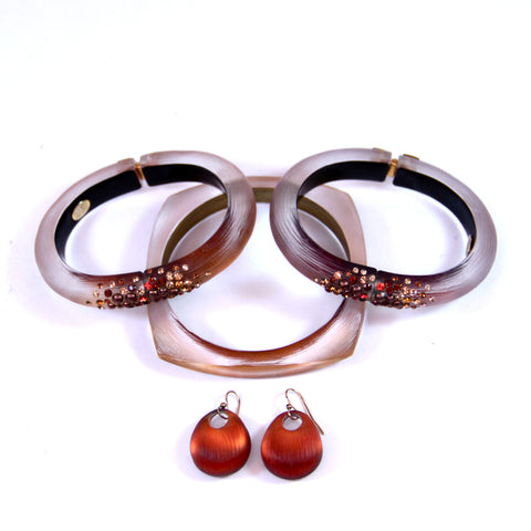Alexis Bittar Resin and Lucite Bangle and Earring Set