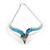 Sterling Silver Turquoise Channel Inlay Collar Style Necklace