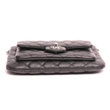 Chanel Black Quilted Caviar Front Pocket Flap Clutch
