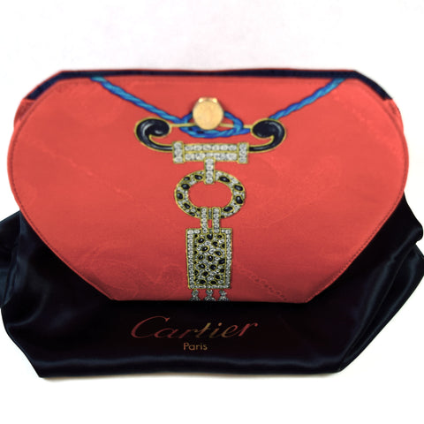 Cartier Silk Scarf Bag Red Evening Bag Purse