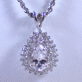 Sterling Silver Necklace with Cubic Zirconia Teardrop Charm