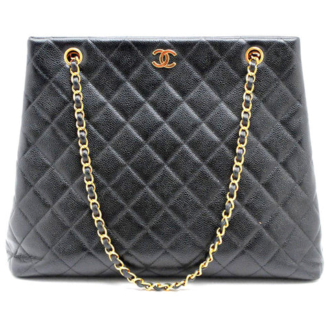 Chanel Caviar Black Quilted Leather Shopper Tote