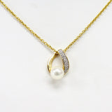 Milros Italy 14k Yellow Gold, 0.10cttw Diamond & 5mm Pearl Necklace