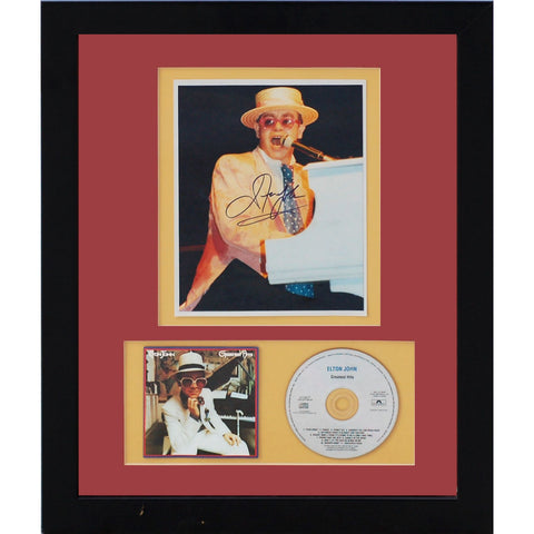 Framed Elton John Autograph Photo CD Collage