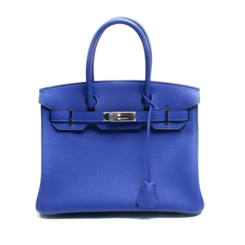 Hermes 30cm Electric Blue Togo Birkin Bag