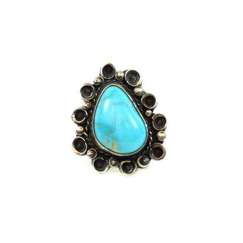 Sterling Silver Elongated Turquoise Ladies Ring, Size 6.75