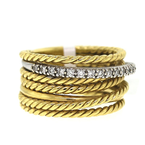 David Yurman 18 Karat Yellow and White Gold with Diamond 7-Band Ring, Size 6.5