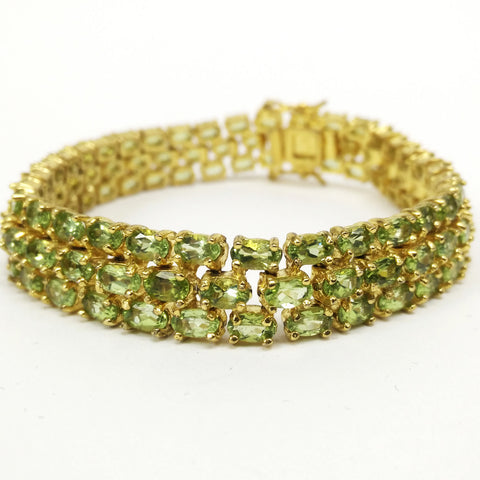 Gold Plated Sterling Silver and Peridot Elegant Jewelry Bracelet