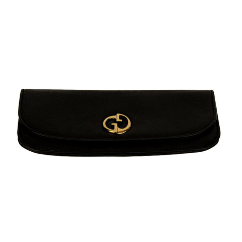 Gucci 1973 Double GG Detail Clutch Black Leather