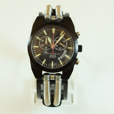 Android Mens Hydraumatic 6G Self-Winding Stainless Steel Black Chronograph Wristwatch