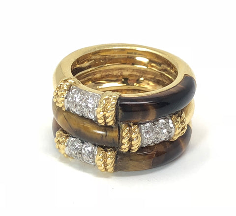18KT Yellow Gold, Diamonds, and Tiger's Eye Triple Stack Ring
