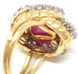 Van Cleef & Arpels Cabochon Ruby 18K Yellow Gold Ring Size 7.25