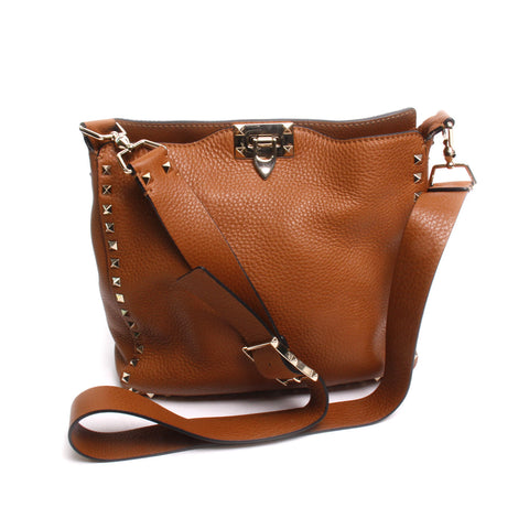 Valentino Light Brown Grained Leather Rockstud Shoulder Bag