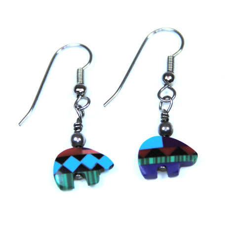 Multicolor Stone Native American Style Bear Fetish Earrings