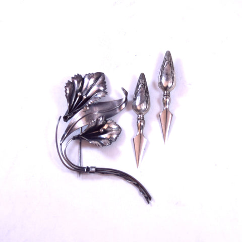 Sterling Silver Flower Brooch and Corn on the Cob Handles Set