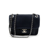 Chanel Navy Blue Perforated 'Up in the Air' Small Flap Bag