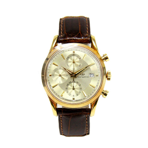 Mens 18k Yellow Gold Philip Watch Sunray Automatic Chronograph