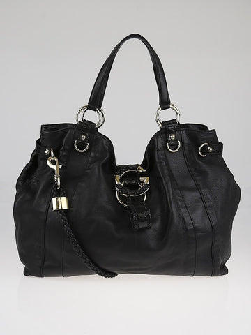 Gucci Large Black Leather G Wave Braided Shoulder Hobo