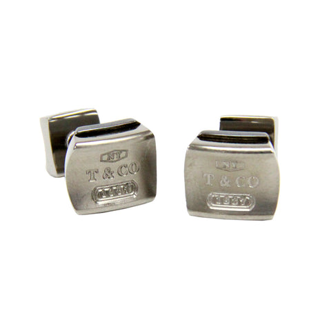 Tiffany & Co. 1837 Square Titanium & Sterling Silver 925 Mens Cufflinks