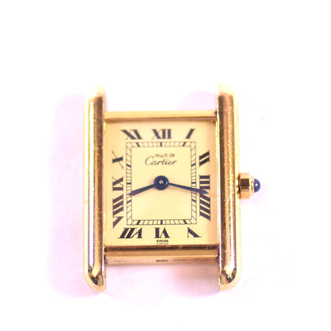 "Cartier Ladies ""Tank"" Sterling Silver Underlay with Gold Vermeil Square Watch"