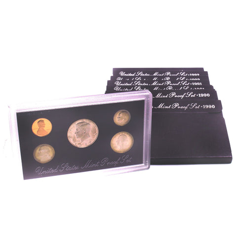 9 US Mint Proof Sets 1989-93 Half Dollar Quarter Dime Nickel Cent