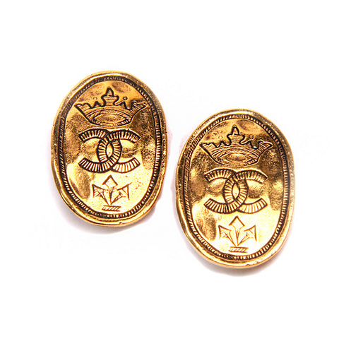 Chanel Vintage Crown CC Gold Tone Earrings