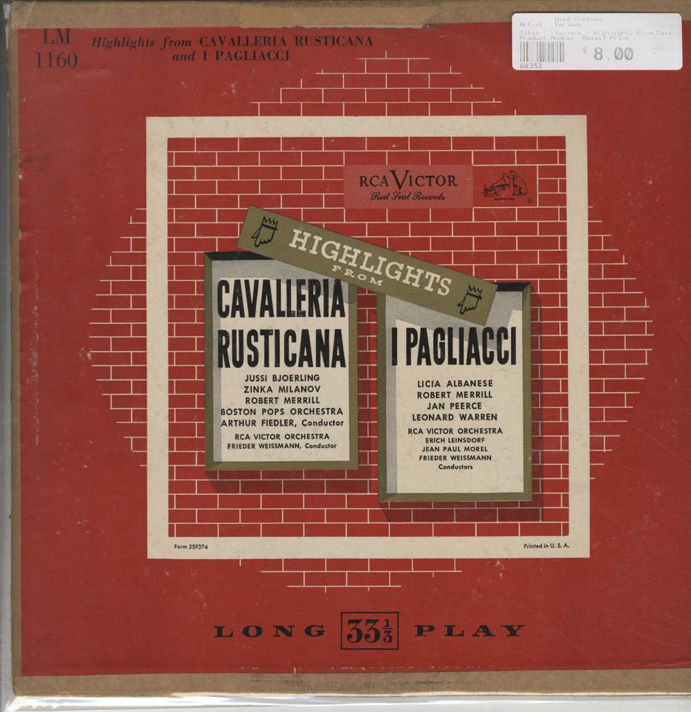 Various - Highlights From Cavalleria Rusticana And I Pagliacci