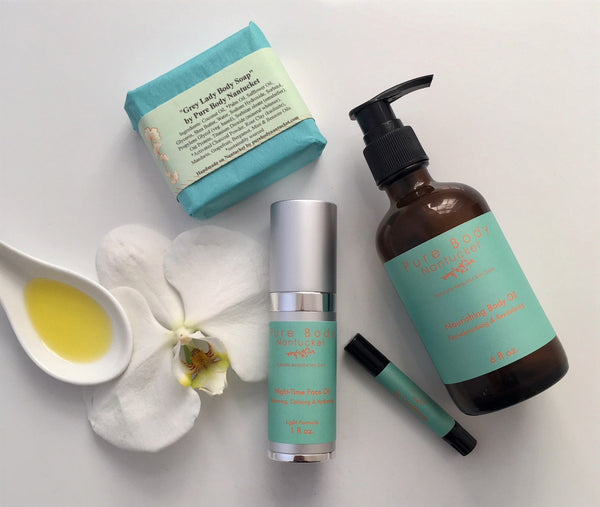 The Pure Body Nantucket Collection...Night-Time Face Oil, Nourishing Body Oil, Lip Conditioner and Grey Lady Soap. Effective, naturally pure, organic and botanical based skin care products using only the finest ingredients. Handmade on Nantucket Island.