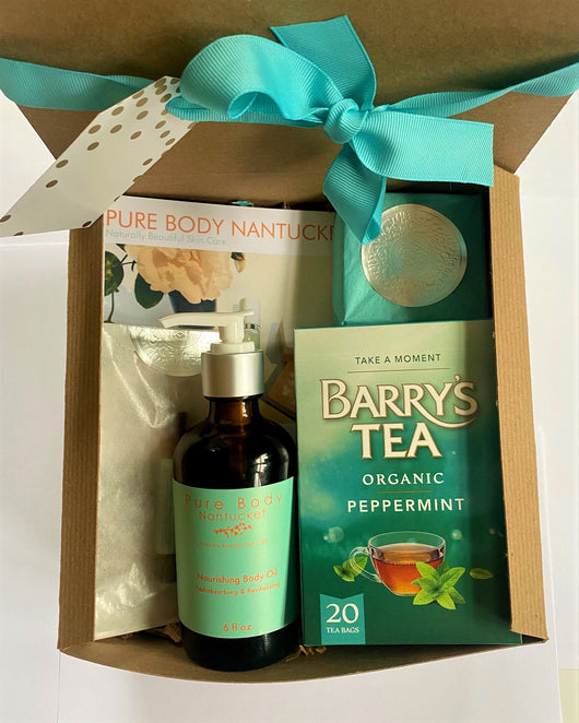 Pure Body Nantucket Irish Gift Box with Barry's Peppermint Tea