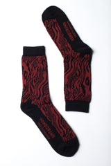 Homegrown Grain Print Socks - Maroon