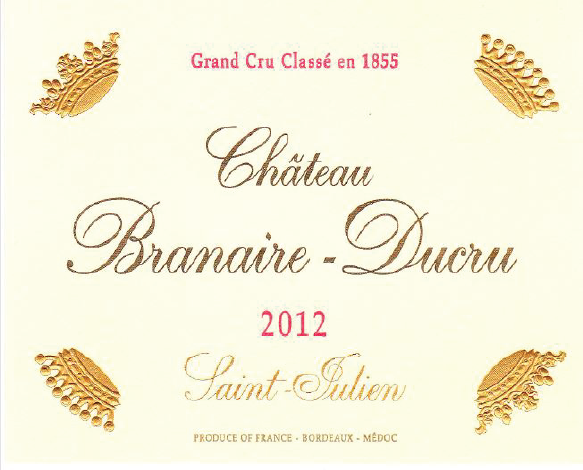 Laguna Cellar, Château Branaire-Ducru, 2012, Saint-Julien, Fourth Growth, 4ème Grand Cru Classé