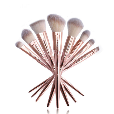 8 Piece Rose Gold Makeup Brush Set with Tapered Handles